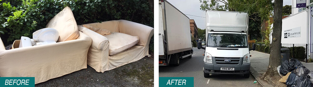 rubbish disposal W3 Before After Photo